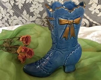 Vintage Blue Victorian Boot Vase. Ceramic Tie Up Boot With Gold Bows. A Great Flower Vase or Feather Holder.