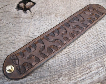 Mens Leather Cuff Bracelet with Hand Tooled custom tribal/geometric design made to order. Free shipping.