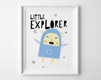 Little explorer, nursery decor, kids print, wall art printable decor, Space print, downloadable prints, nursery print, mini learners print