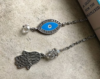 Blingy Evil Eye and Hamsa Book Thong Bookmark