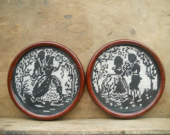 Vintage embroidered wall hangings Set of 2 Victorian style round wall decors Black and White wall decors