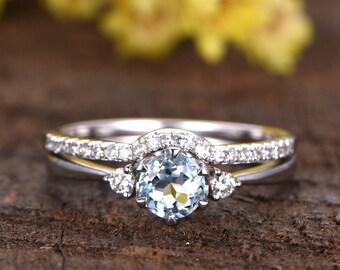 5mm round cut VS natural aquamarine engagement ring,0.55ct GEM,14k white gold diamond wedding band,anniversary,gift for her,diamond band
