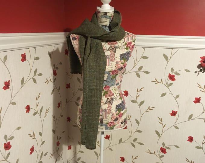 Irish Tweed Scarf - Celtic Wrap - Stole - 100% Irish Wool- Green Tartan