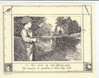 Boy Fishing- This 6-pack features an ink drawing of s a young boy fishing, on ivory stock with matching envelopes, tied with green ribbon