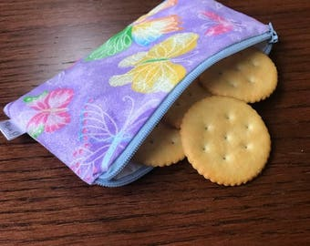 Purple sparkle butterfly snack bag--READY TO SHIP