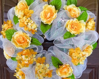 Etsy Yellow and White   Spring or Summer Flower Wreath on Etsy   Door Wreaths By Trina   Wreaths on Etsy   Etsy Wreaths