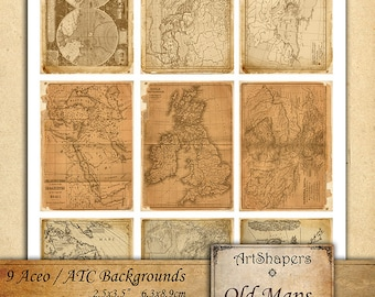 OLD MAPS- Aceo backgrounds, jewelry holders,instant download paper,digital papers,digital collage sheet DCS95