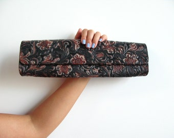Carlos Falchi purse - vintage 80s tooled leather designer dark brown long skinny clutch billfold mexican floral boho hippie bag handbag