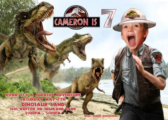 jurassic park invitation boy being chased by dinosaur