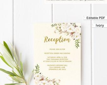 Wedding Reception Card Template, Wedding Reception Invitation, Printable, Ivory, #A055, Instant Download, Editable PDF