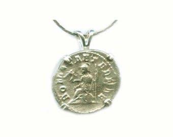 Genuine Ancient Roman Coin AD247 Ancient Coin Silver Roman Denarius Emperor Philip the Arab Coin Goddess Roma Sterling Silver Pendant #57196