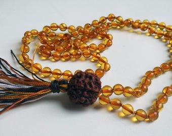 Rudraksha - knotted 108 bead amber mala (size 6mm)