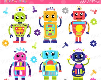 Robot Digital Clipart, Robots, Cute Robots, Colorful Robots, Commercial Use, Instant Download, PNG