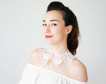 Lace Collar White Collar Vintage Collar Statement Necklace Gift For Her Birthday Gift Sister Gift Bridal Collar Inspirational/ VALERIA