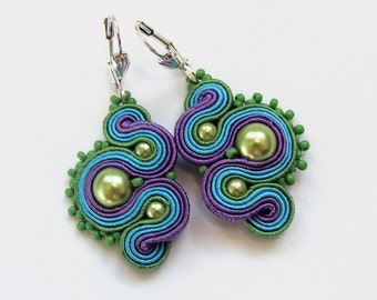 Multicolor soutache earrings handmade embroidery green blue turquoise violet satin strips TOHO oaak gift for her under 50
