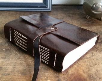 Handmade Leather Journal, Dark Brown Hand-Bound 4.75 x 6 Journal by The Orange Windmill on Etsy 1826