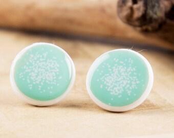 MINT STUD EARRINGS - Stud Earings -  Polymer Clay Round Stud Earrings - Cute Mint Studs - Baby Blue Stud - Jewelry studs - Winter Earrings