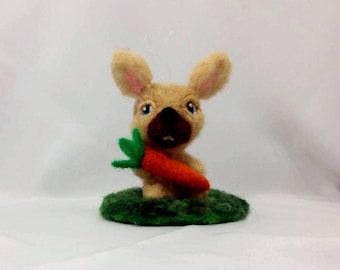 Beige Rabbit with Carrot , Easter Ornament, Easter Gift, Shelf Sitter, Office Décor, Home Decor