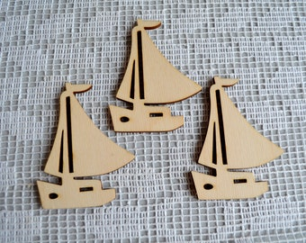 Set of 3 sailboat, Wooden ship, Craft Shapes, Decoupage Sea Decor, Baby Mobile Craft, jewelry supplies, Earring template, do it yourself