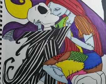 Jack and sally kiss sketch