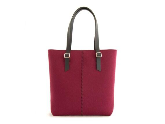 Felt TOTE BAG / leather straps / burgundy / felt women's bag / wool felt / made in Italy