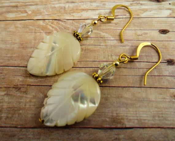 Mother of Pearl Leaf Earrings