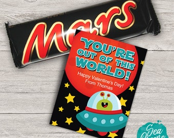 Space Valentine | Personalize and Print Out of this World valentine treat tag | printable valentine