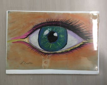 Blue eye crying pastel drawing