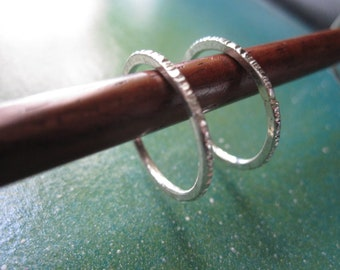 Skinny highly textured silver stacking ring - finger, toe ring or midi ring made in sizes 3-13