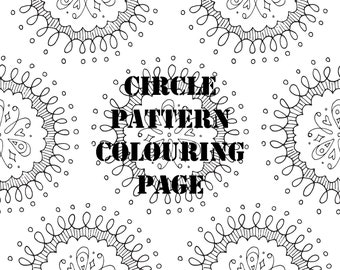 Circle Pattern Digital Printable Colouring Page