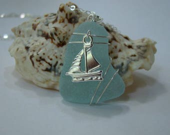 Sailboat Necklace - Aqua Sea Glass Pendant - Nautical Jewelry - Sterling Silver Wire Wrapped