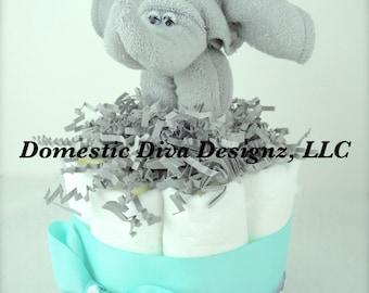 Diaper Cake - Mini Turquoise, Gray & White Chevron Elephant Wash Cloth Favor Baby Shower Diaper Cake Centerpiece