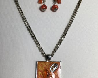 Unique Locket set and earrings matching co112