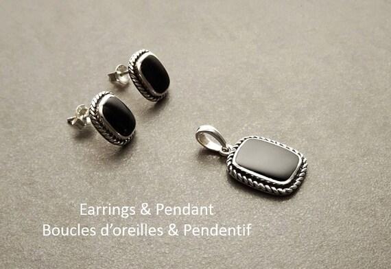 SET onyx - earrings and Pendant - Sterling Silver 925 - Onyx Jewelry - Oxidized - Square shape - Onyx Stud Earrings - Tribal - Rock - Black.