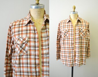 1970s Brown Plaid Shirt