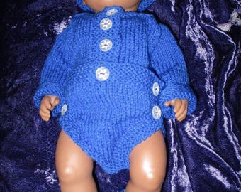 Hand knitted Bodysuit for Baby Reborn 14-17 Inch Doll size