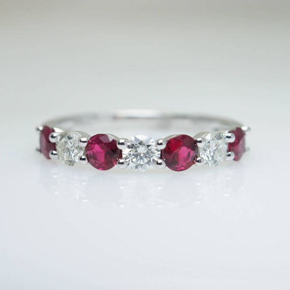 Diamond Ruby Anniversary Band in 14k White Gold Ruby Band