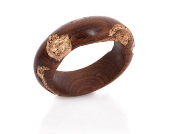 Wood Bracelet Bangle –Brown and Gold – Enhancing You