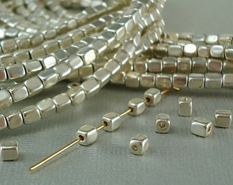 20 Silver plated Brass 3mm x 4mm Cube Square Beads Rounded corners tiny silver metal beads small spacer