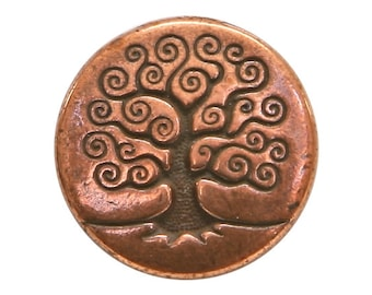 3 TierraCast Tree of Life 5/8 inch ( 16 mm ) Copper Plated Pewter Buttons