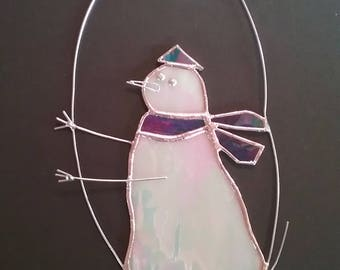 Cool Snowman Stained Glass Suncatcher with scarf, metal arms and dangling star above