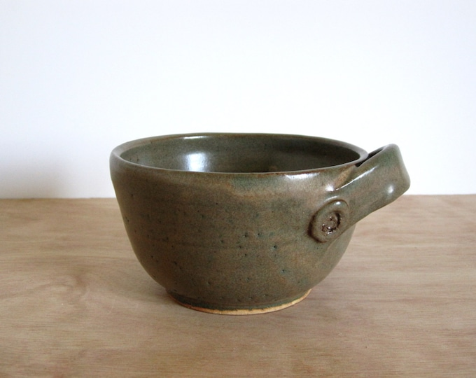 CLEARANCE Vintage Green Olive Ceramic Bowl with Single Decorative Handle