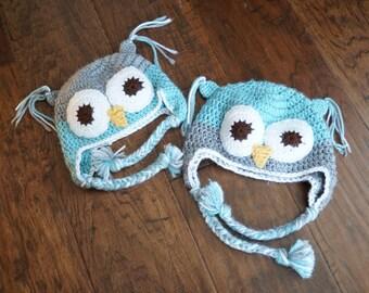 Twin Owl Hat Set || Blue and Gray Owl Hats || Newborn Owl Hats