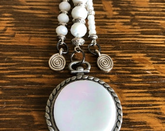 Lovely Luminous White Glass Long Pendant by BoHoBounty/Gifts for Her