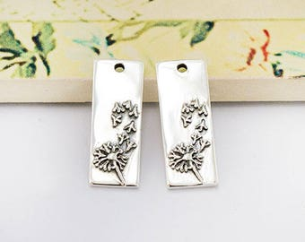2 of 925 Sterling Silver Dandelion, Rectangle Charms 7.5x20 mm. Oxidized  finish :tm0169