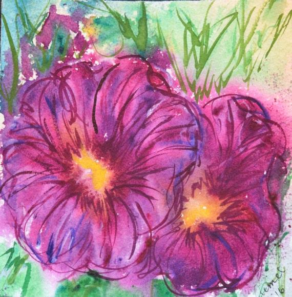 Painting, watercolor, Hollyhocks 2