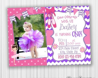 Ballerina Birthday Invitation,  Photo Invite- Printable, Announcement,Digital