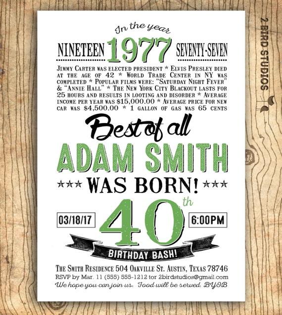 40th birthday invitation Surprise 40th birthday invitation