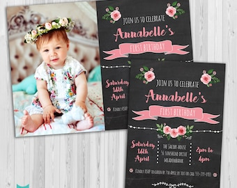First Birthday invitation, Girls First birthday invite, 1st Birthday invitation chalkboard one year old invite Rose theme, Floral invitation