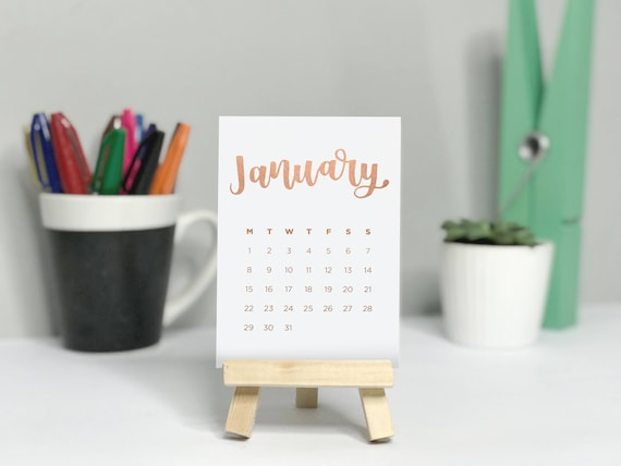 Foil Desk Calendar with Mini Easel